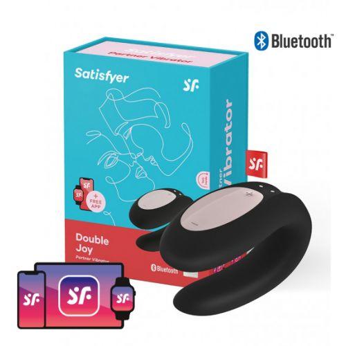 Satisfyer Double Joy Partner Vibrator met App bediening - Zwart